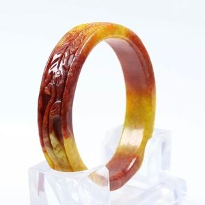 Jewelry - 63mm Chinese Hand-carved Brown Red Jade Jadeite